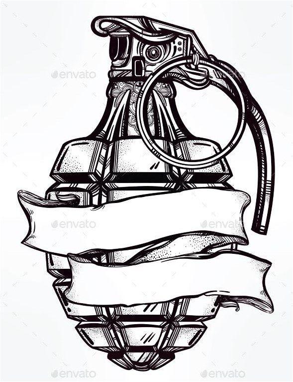 #Tattoo Hand Drawn Design of an Army Manual Grenade JPG