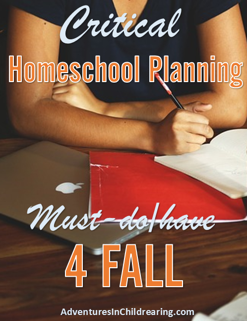 Homeschool Planning CRITICAL Mustdo/have for FALL