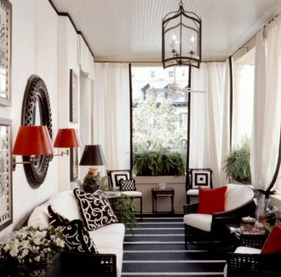 black and white with a little POP of RED! living room home