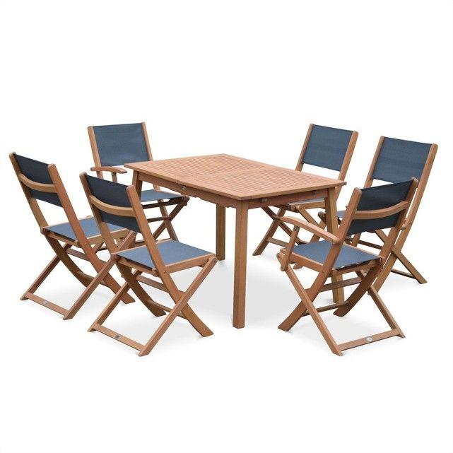 Salon de jardin en bois Almeria, table 120-180cm rectangulaire avec ...