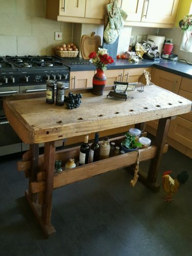 Rustic Workbench Table Kitchen Island Butchers Block Prep Table