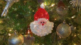 93cd182c8f9 Crochet santa face head ornament tutorial - YouTube