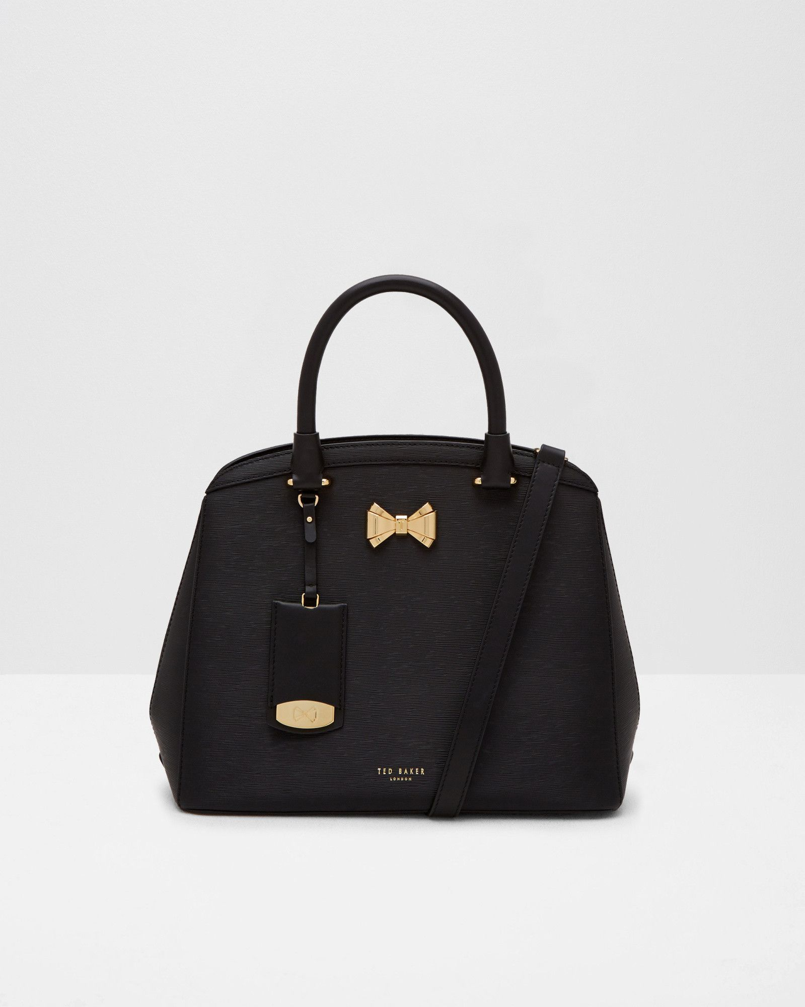 2ac816fec3a Bow detail small leather tote bag - Black | Bags | Ted Baker | All ...