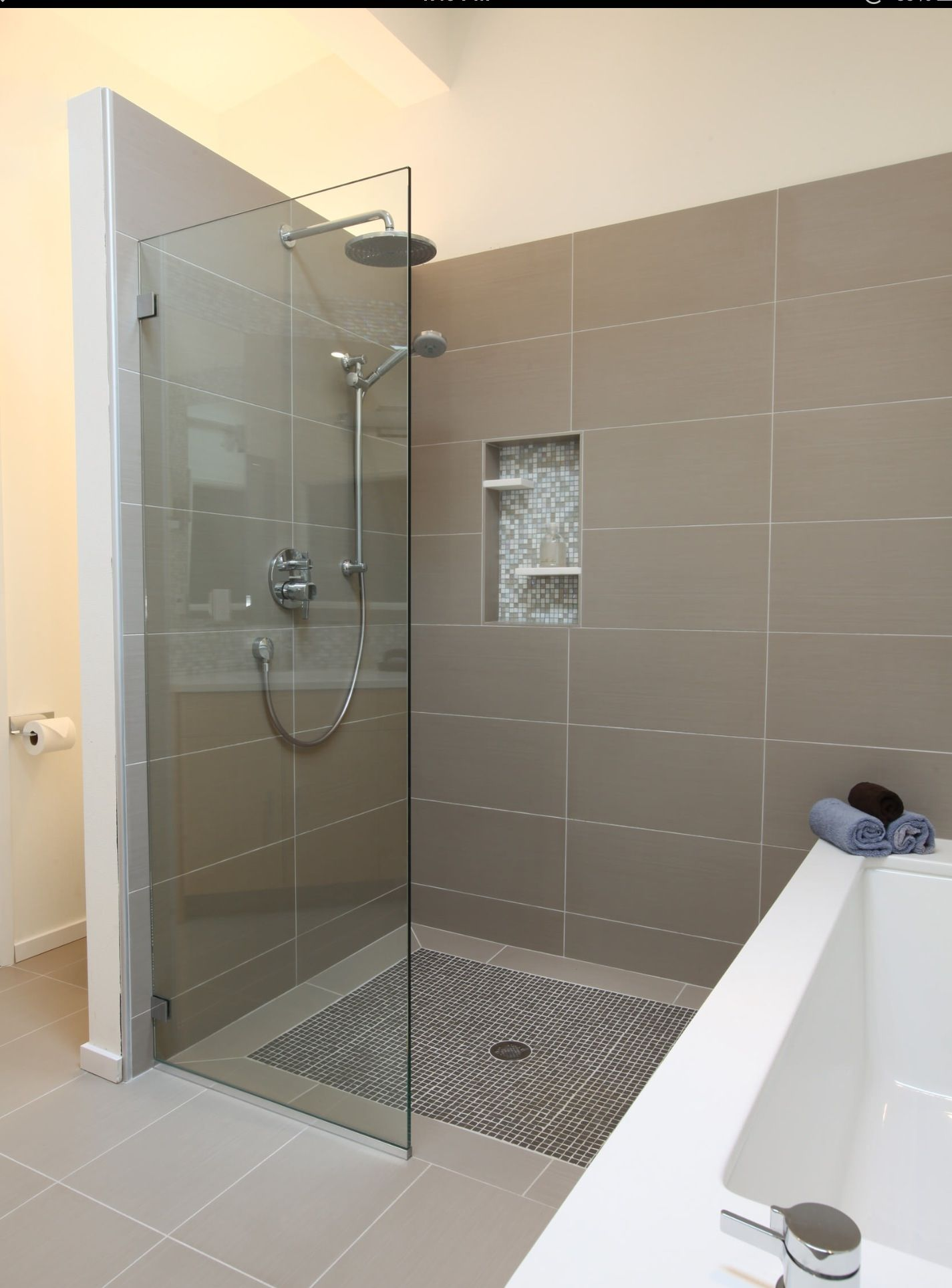 Open bathroom showers - Walk In Shower With Storage At Other End Of Bath Grey Tones Though Love