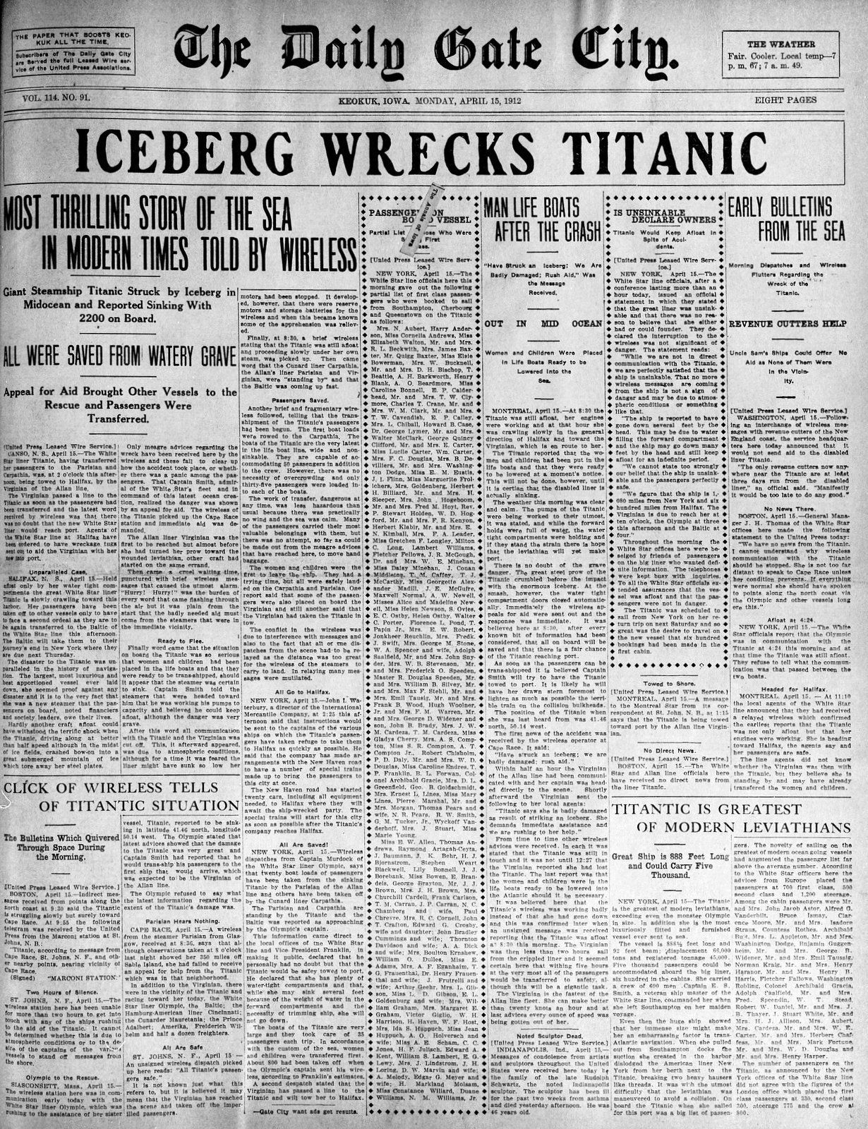 Titanic Newspaper Front Pages With The First Stories Of The Disaster On April 15 1912 Newspaper Front Pages Titanic Newspaper