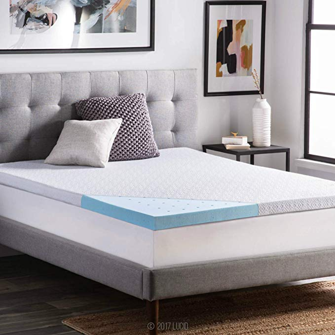 King Size Gel Infused Breathable Lucid Mattress Topper Pad Memory Foam 4 in