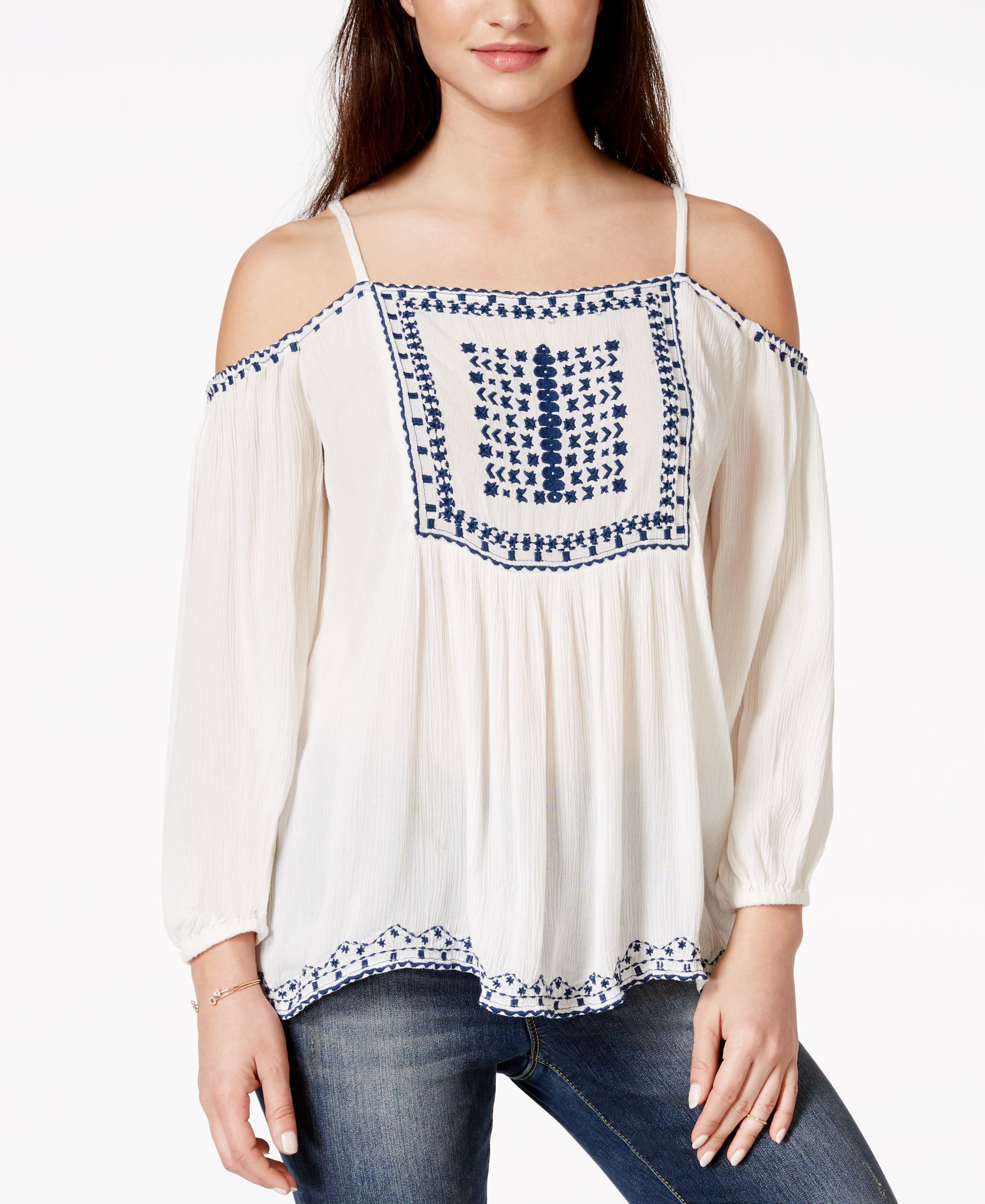 American Rag Embroidered Off-the-Shoulder Peasant Blouse, Only at Macy's