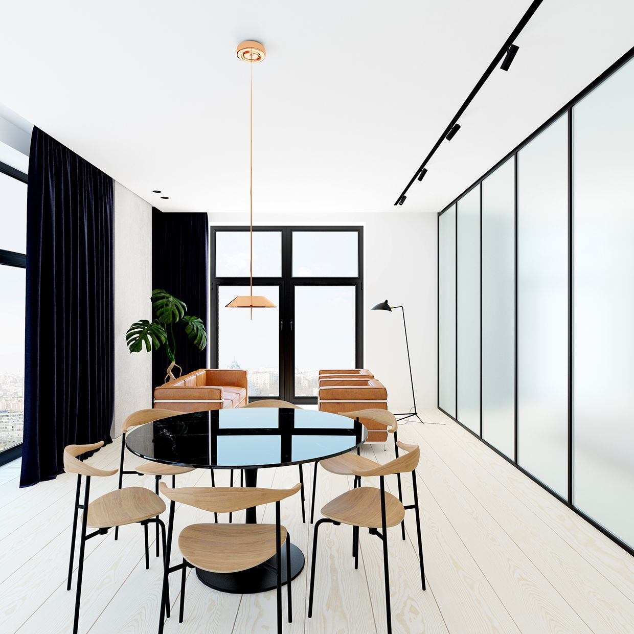 interior design of bungalow houses%0A Beautiful  minimal interior with amber leather couches and  floortoceiling  smoked