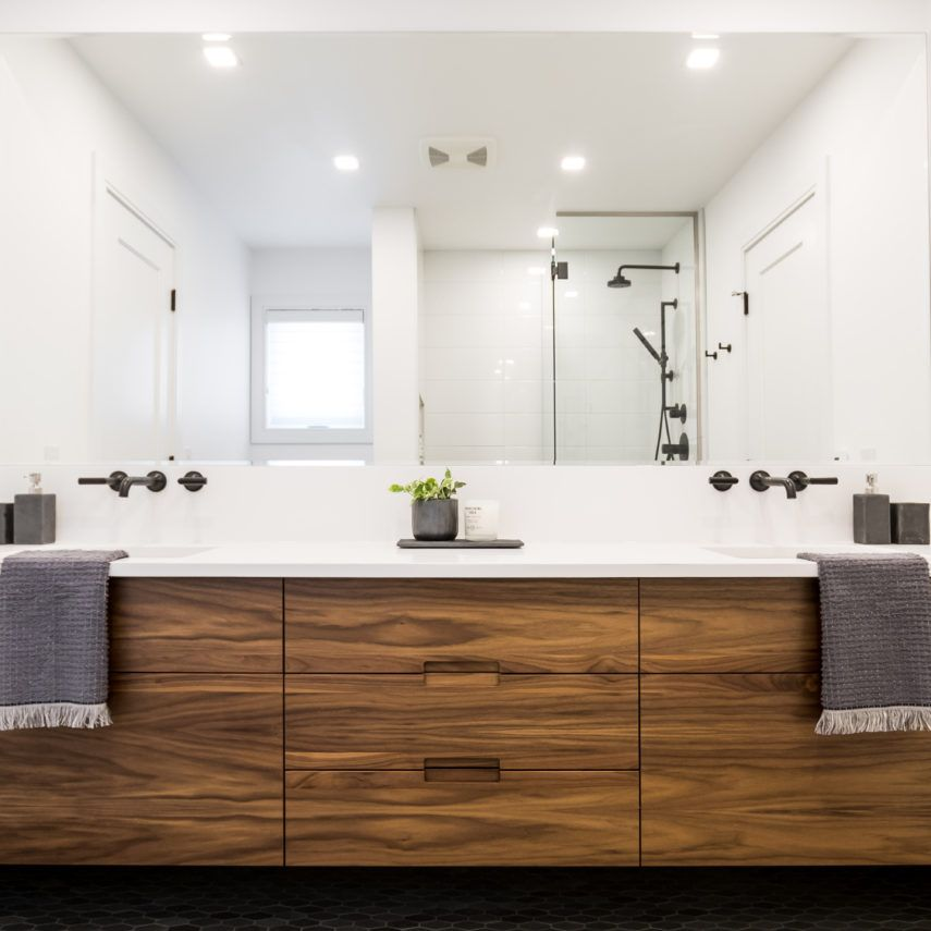 Lamont Interior Design Portfolio Winnipeg Custom Jack Jill Bathroom Walnut Vanity Interior Design Portfolio Interior Design Firms Jack And Jill Bathroom