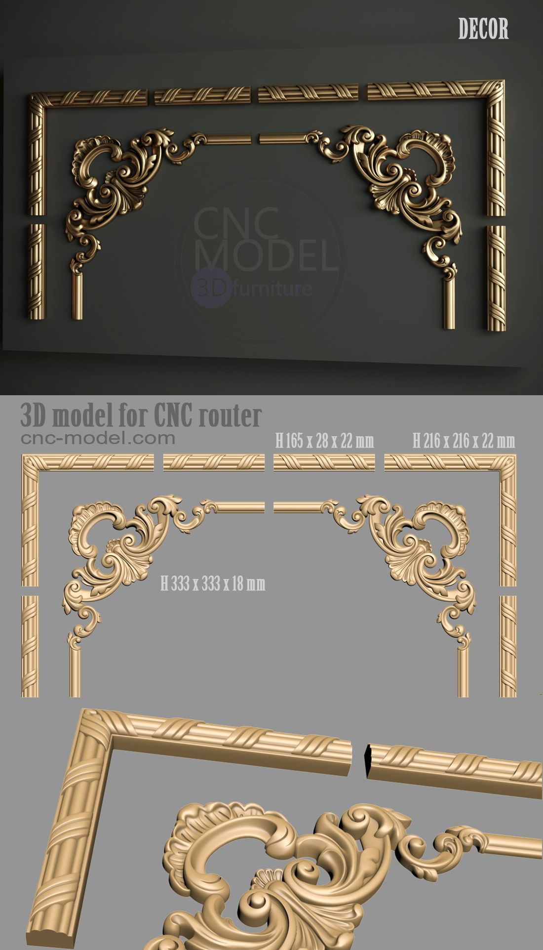 Möbelfüße Barock A1219 Decor Cnc Model 3d Model For Cnc Router 3d Furniture