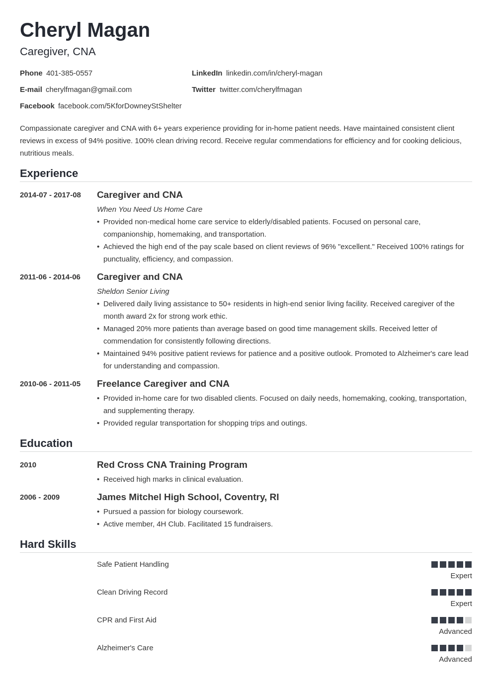 Caregiver Resume Example Template Nanica Caregiver Jobs Job Description Template Resume Examples