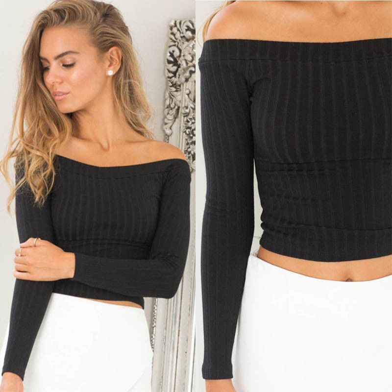 Womens Sexy Knit Tops Off Shoulder Tank Tops Sweater Crop Top T-shirt Blouse
