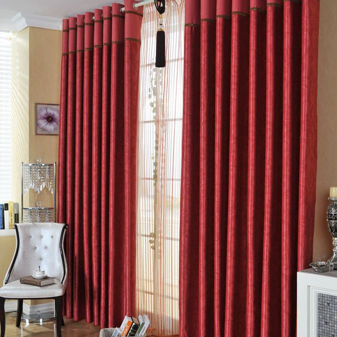 Festival Bedroom Or Living Room Curtains In Red With Polyester (Two Panels)