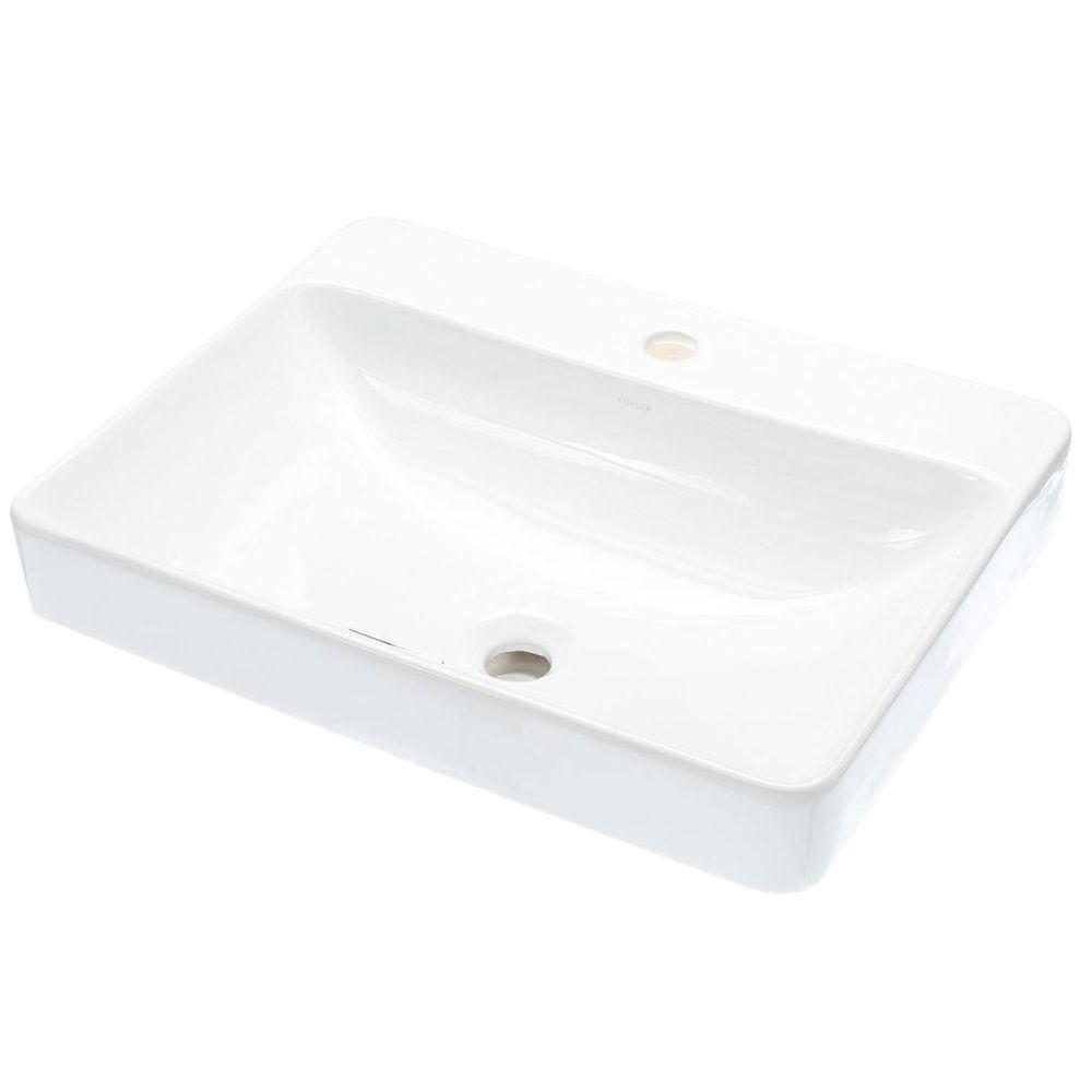 Kohler Vox Vitreous China Vessel Sink In White With Overflow Drain K 2660 1 0 Rectangular