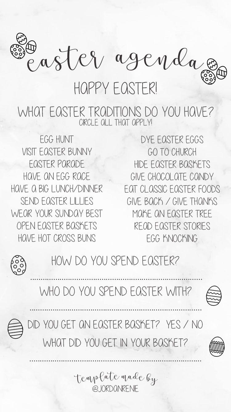 Instagram Story Templates Easter Agenda Www Jordanrenie Instagramstorytemplate Storytemplates