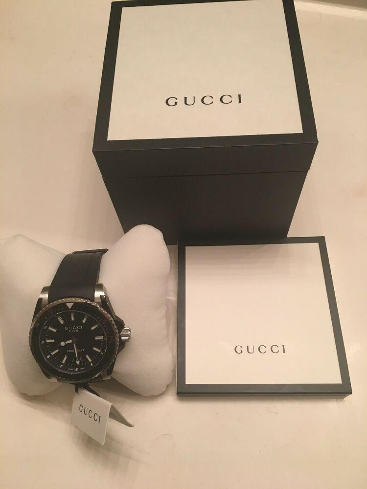f971adfbe7a Gucci YA136204 Dive XL Black Dial Watch Mens Rubber Strap Quartz Excellent  Cond
