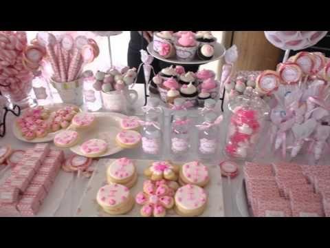Decorar un bautizo de ni a en rosa for Mesa de dulces para bautizo de nina