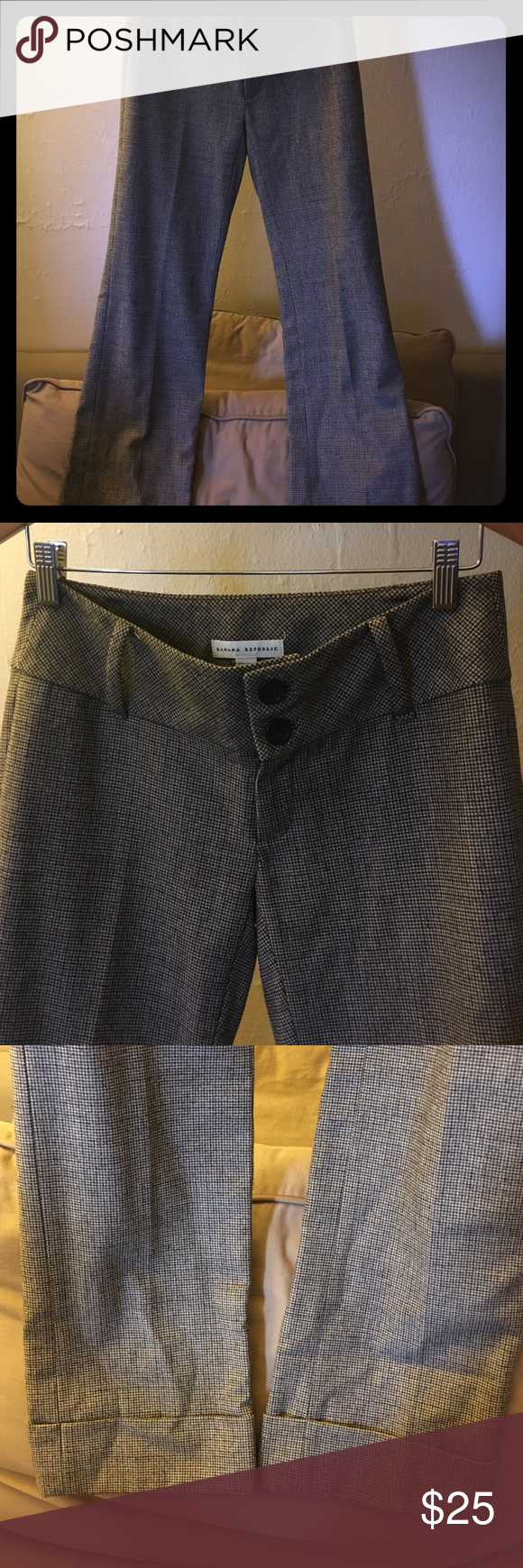 Banana republic wool pant. Brown banana republic wool pant. Wide waist and legs with cuffed bottoms. Lined with silky like material, so it's not itchy. Banana Republic Pants Boot Cut & Flare