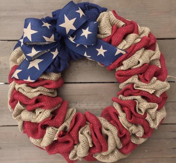 Photo of Wreath for Front Door | Patriotic Wreath | Memorial Day Wreath | July 4th Wreath | Front Door Wreath | Americana Wreath | Burlap Wreath