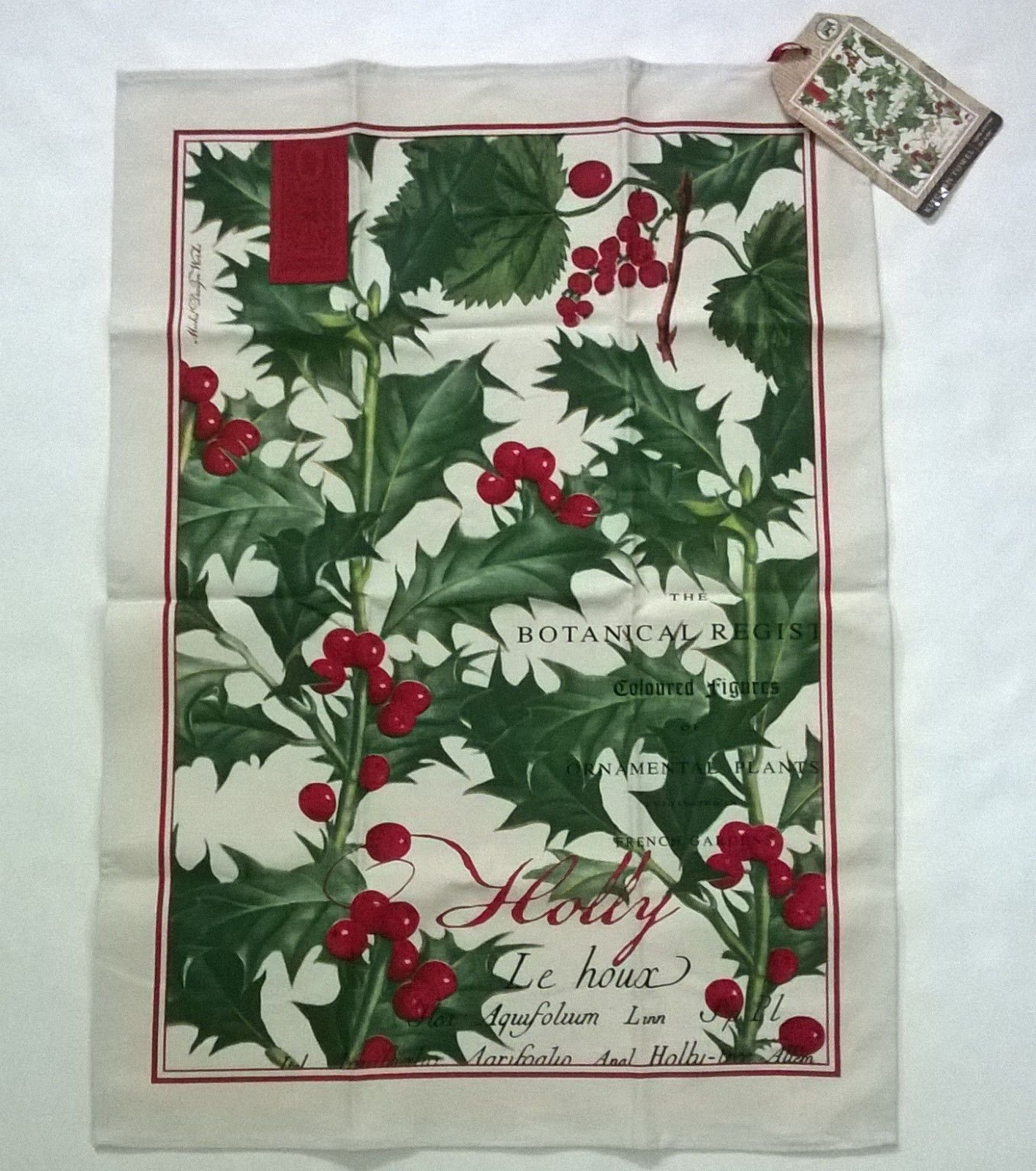 New Michel Design Works Holly Kitchen Towel Botanical Christmas Winter  Berries | EBay