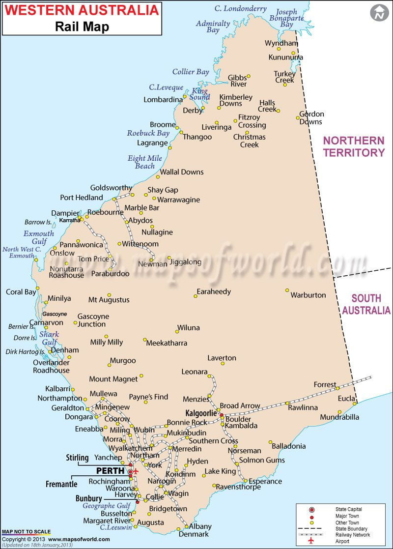 Western Australia Railway Map 1WA Pinterest Westerns