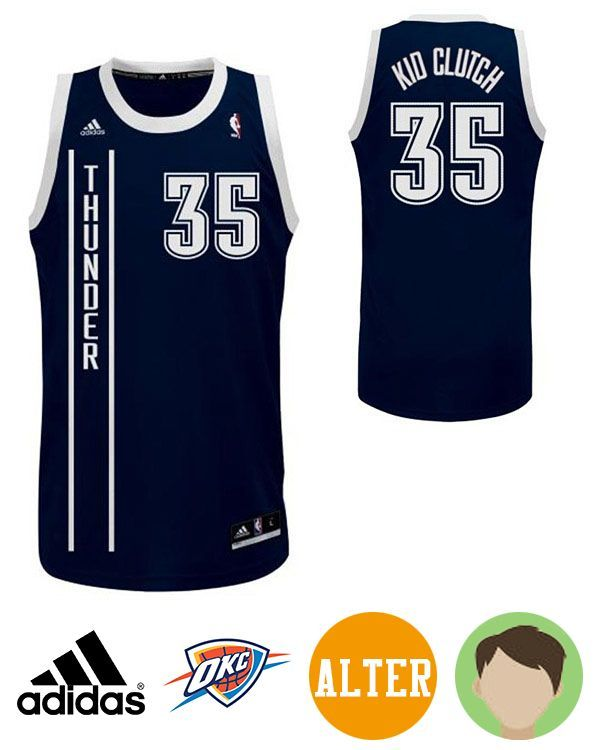 c3354556745d4 Honor your favorite NBA superstar in this Kids' Adidas Oklahoma City Thunder  #35 Kevin Durant Navy Nickname Kid Clutch Swingman Jersey!