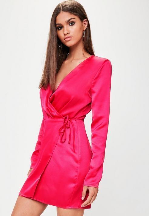 57ef6a50c520 Missguided Tall Fuchsia Satin Wrap Dress | Products | Dresses, Tall ...