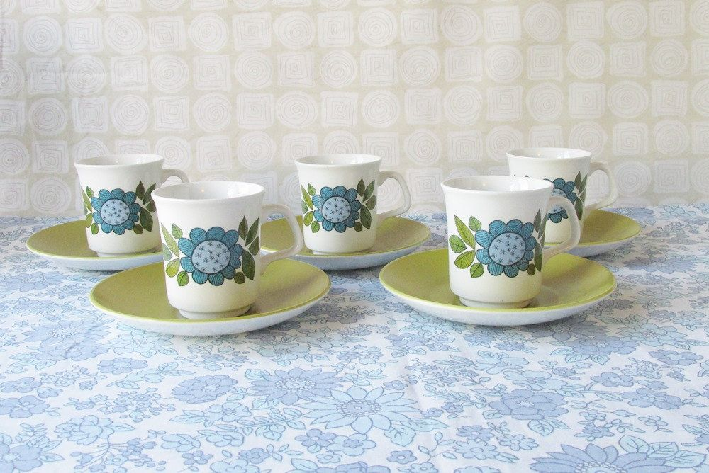 Vintage J & G Meakin, 5 Topic Coffee/Tea Cups and Saucers, Retro, Kitsch, 1960's. by NoodlesVintageThings on Etsy
