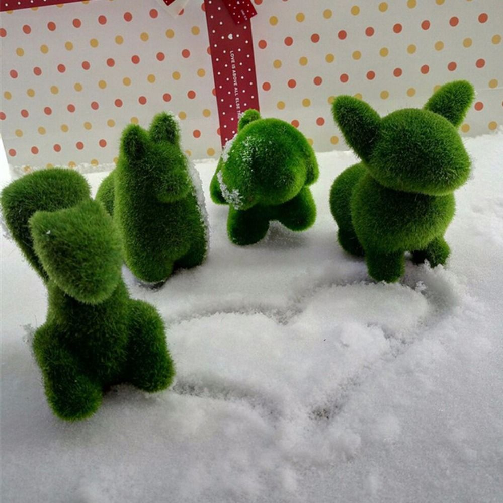 4pcs/lot Artificial grass Turf small cute animals toy decorations, animal grass land,Reduce the eye fatigue chrismas decor gifts