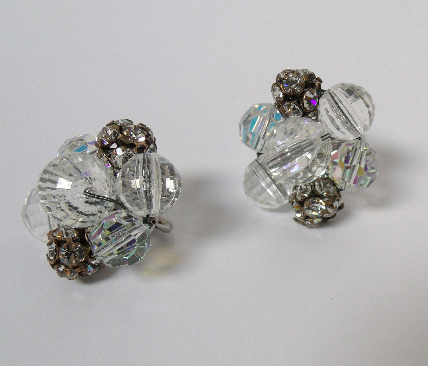 Vintage Vogue Earrings Faceted Ab Crystal G Ball Beads By Antiquemee On Etsy