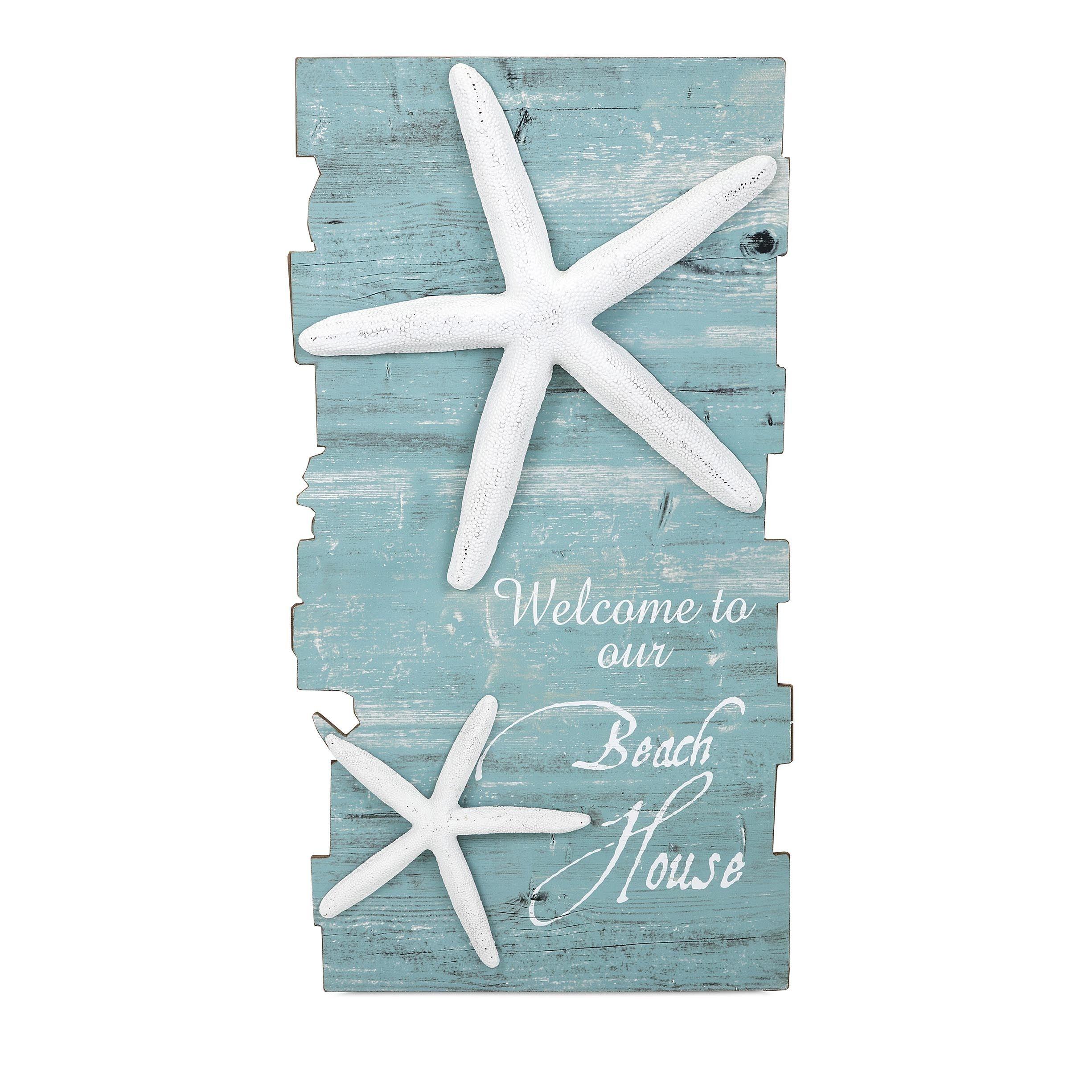 Imax Beach House Starfish Wall Decor Accent Piece Blue Mdf
