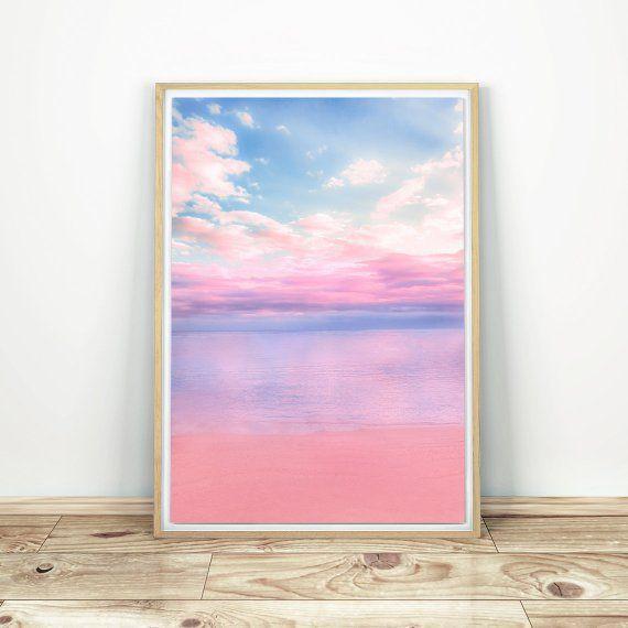Beach Photo Summer Beach Art Modern Beach Poster Pastel Beach Photo People on the Beach Summer Beach Waves Pink Beach Wall Art