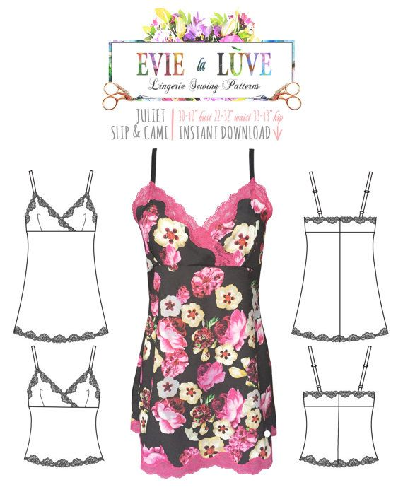 Slip & Camisole pdf Sewing Pattern - Juliet - PDF instant download ...