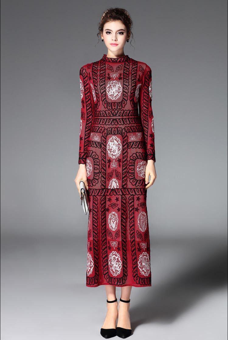 European runway retro royal embroidery elegant ball gown long dress