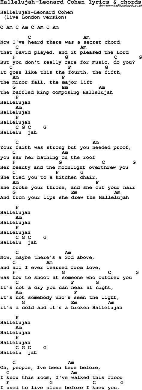 Love Song Lyrics For Hallelujah Leonard Cohen With Chords For