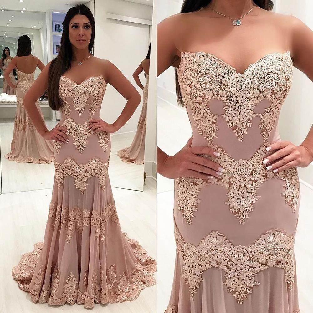 Sweetheart neckline chiffon lace mermaid custom long evening prom