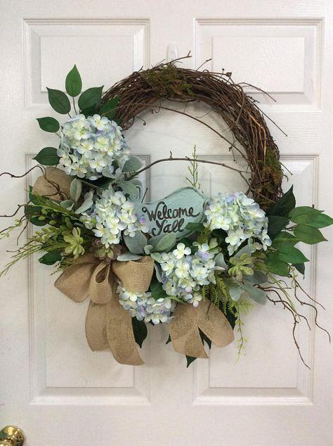 Summer Door Wreath Front Door Hydrangea Wreath Bird Wreath