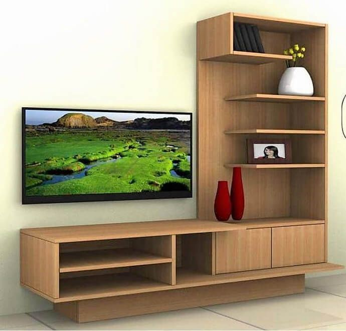This L Shape Media Wall Is Best For Small Living Rooms As It Has Sufficient Stora Living Room Tv Stand Living Room Furniture Layout Small Living Room Furniture