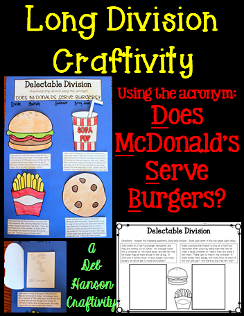 Long Division Craftivity Using The Acronym Does McdonaldS Serve