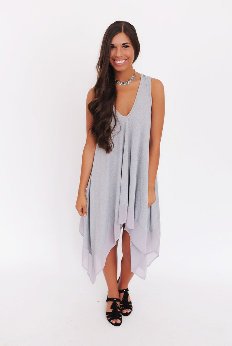 Grey Handkerchief Hem Dress - Dottie Couture Boutique
