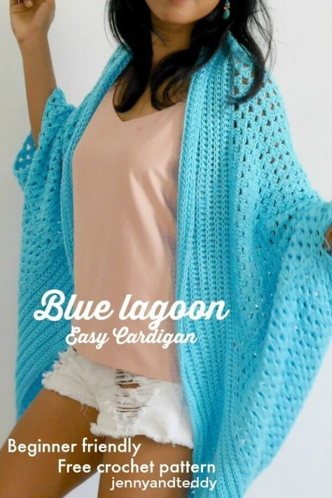 Blue Lagoon Spring Time Easy Crochet Cardigan Free Pattern By