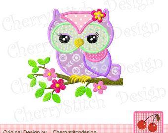 Flower owl 04 Digital Applique 4x4 5x7 by CherryStitchDesign