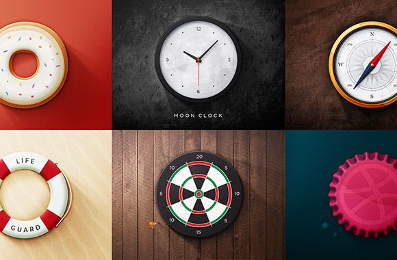 A set of 6 realistic round icons including a clock, a compass, a donut, a target, a life preserver and a dribbble ball. Free PSD designed by...