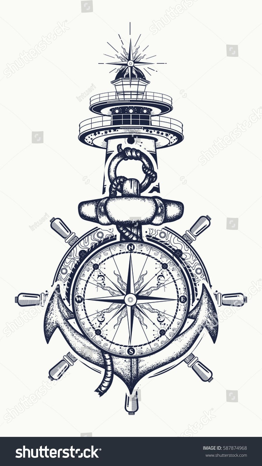 Anchor, steering wheel, compass, lighthouse, tattoo art. Symbol of maritime adventure, tourism, travel. Old anchor and lighthouse t-shirt design #oldtshirtsandsuch