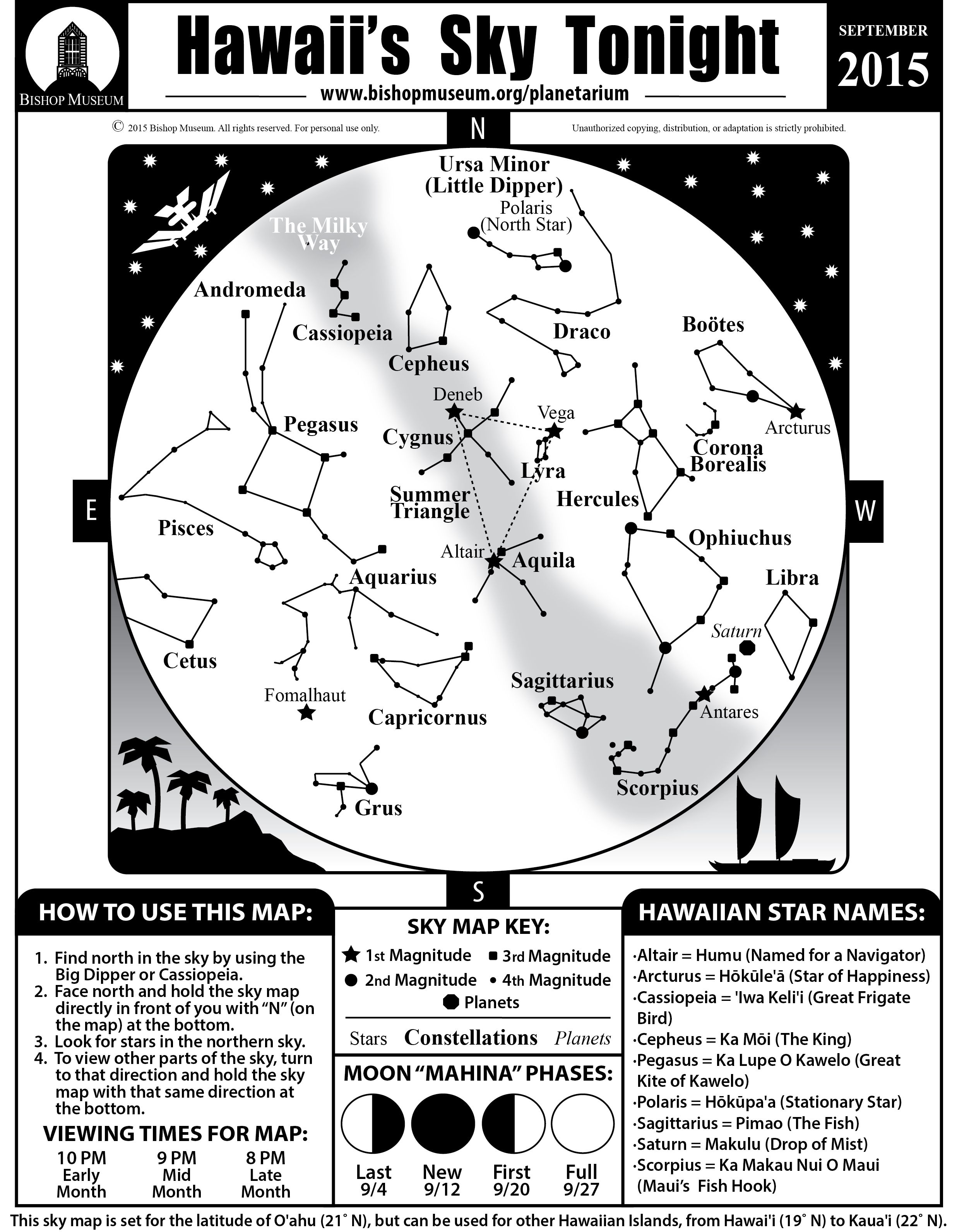 Septembers Sky Map Learn The Hawaiian Names Stars And Planets - Stars map from us