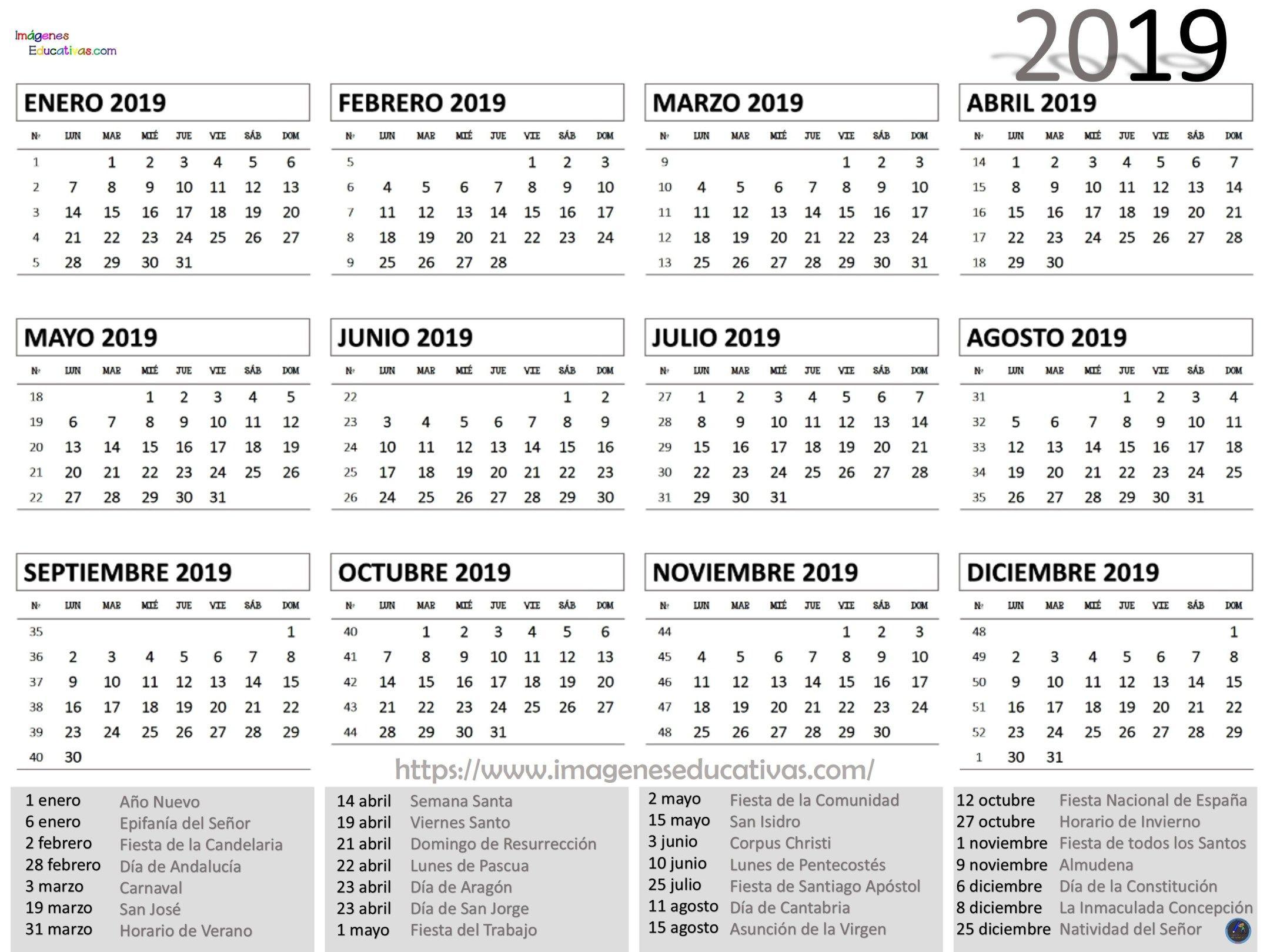 Calendário 2019 - Primeiro Semestre