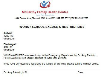 Work School Excuse Doctors Note  Doctors Note For Work