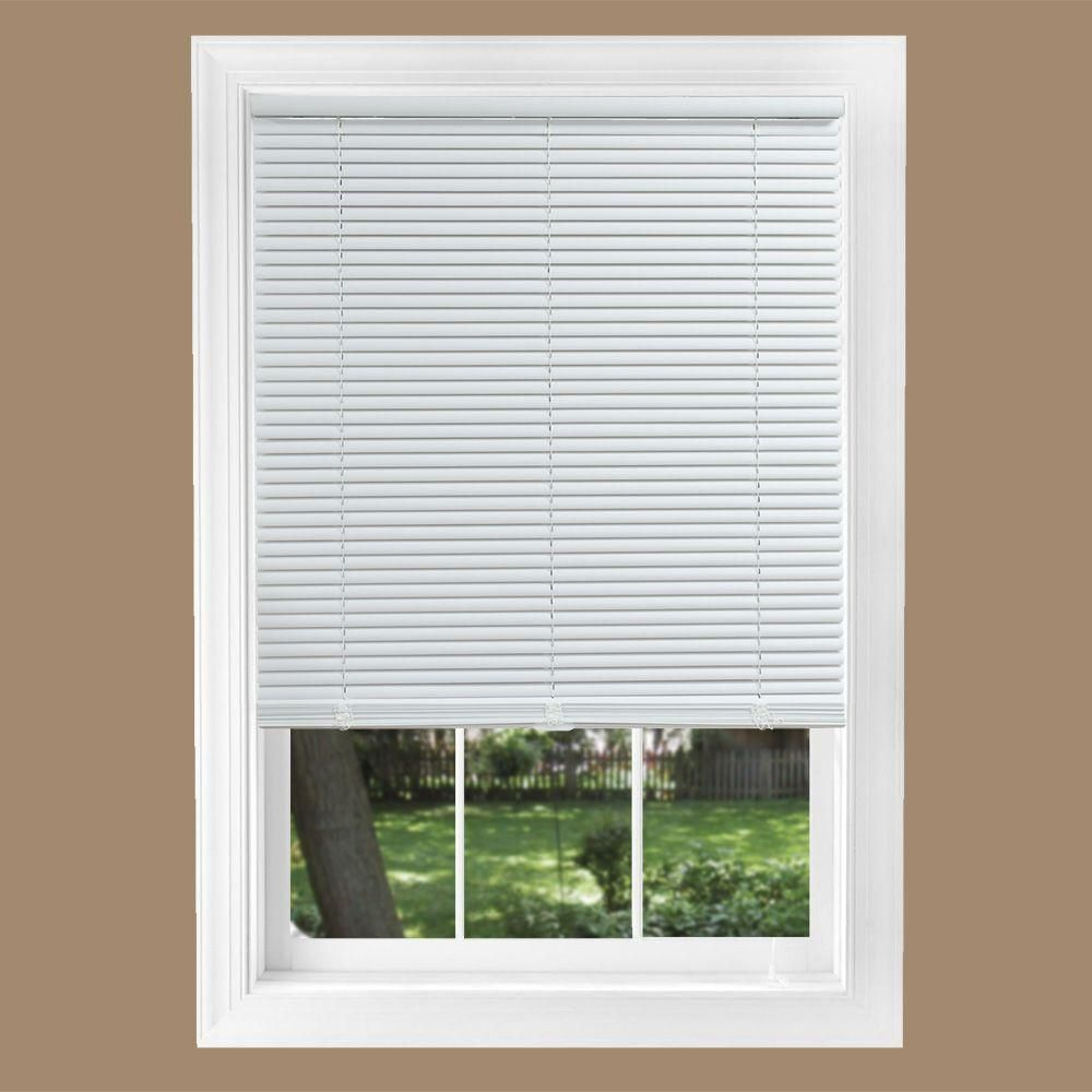 Intercrown White 1 In Cordless Light Blocking Vinyl Mini Blind 46 In W X 64 In L Mini Blinds Vinyl Mini Blinds Blinds