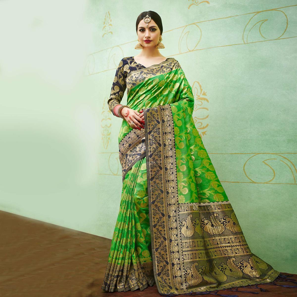 6327393e5a2d87 Buy Green-Blue Colored Designer Festive Wear Banarasi Silk Saree Online  India