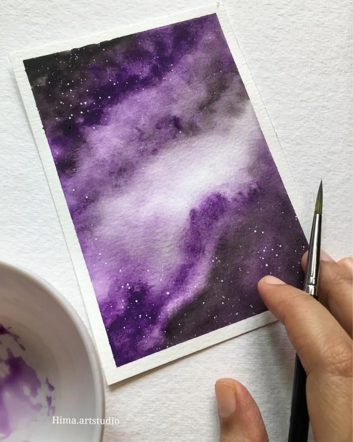 Easy watercolor galaxy painting tutorial
